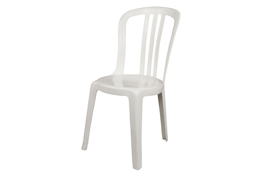 Resin white vienna cafe sidechair rounded back no arms